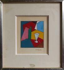 Gouache cubiste E. Neville