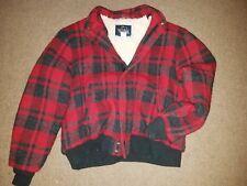 Sweet Vtg Woolrich Buffalo Plaid Sherpa Lined Baseball Style Jacket Coat Men's L