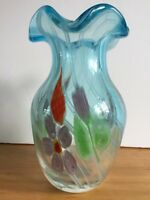 "Art Glass Vase -  Italian -  10"" Heavy Blue with Flowers"