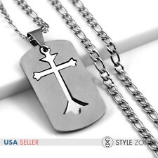 Men's Stainless Steel Silver Cross Dog Tag  2 in 1 Pendant w Figaro Necklace 12M