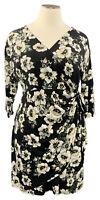 INC Int'l Concept 2X black floral stretch knit 3/4 sleeve wrap around dress