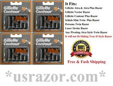 20 Gillette Contour Plus Blade Cartridge Refills Fit Atra Schick Slim Twin Razor