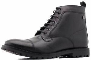 Base London Brigade Black Mens Mid Ankle Leather Hi Boots (UK 8)