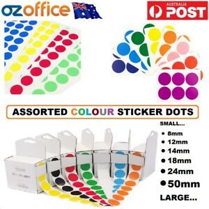 ASSORTED SIZES Colour Sticker Dots Adhesive Round Labels Circular Spot Scrapbook