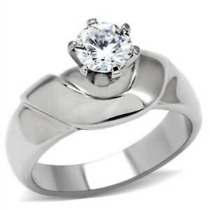 Round CZ Solitaire Womens 10mm High Sit Stainless Steel Wedding Engagement Ring