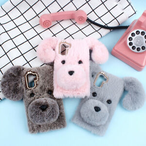 Cute Soft Fluffy Furry Plush Shockproof Case Cover Skin Shell Back for LG Phones