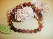 Bracelet Leopard Skin Jasper Natural Stones Beads 8mm Crystal Chakra Handmade
