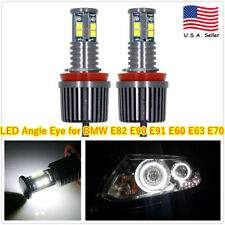 2PC 80W H8 6000K LED Angel Eye Halo Ring Headlight Bulbs For BMW E92 E93 E63 E70