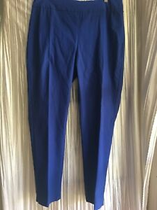 Chico's So Slimming 2.5 ankle pull on stretch pants royal blue rayon nylon spand