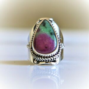 RUBY IN ZOISITE NATURAL GEMSTONE 925 STERLING SILVER HANDMADE JEWELRY RING