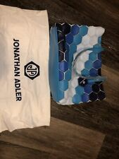 Jonathan Adler Tote Hand Bag Purse Blue Leather Handle
