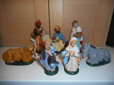 8 Vintage Plastic Mary Joseph 3 Wise Men Donkey and Ox Nativity Figures set