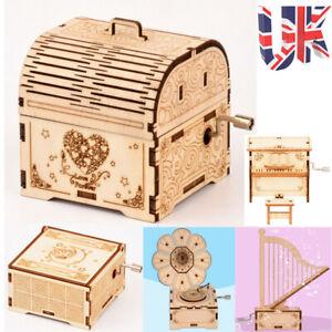 UK 3D Puzzles Music Box Wooden DIY Assembly Jigsaw Craft Game Kids Art Kit Decor