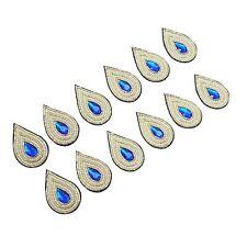 Tear Shape Blue Decorative Applique Bullion Appliques Sewing Accessories 1 Dozen