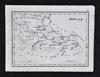 1833 Perrot Tardieu Map - Moselle - Thionville Briev Metz Sarbruck - France
