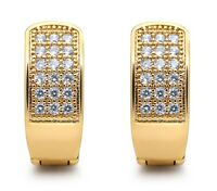 Huggie Earrings  BLING 14mm Gold Filled Crystal Diamond Earring Men Women