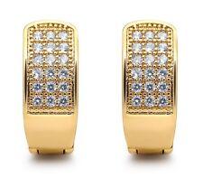 Huggie Earrings  BLING 14mm White Gold Filled Crystal Diamond Earring Men Women