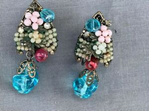 Miriam Haskell beaded dangle clip on earrings blue red beads faux pearls