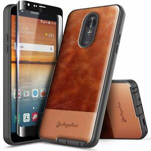 For LG Stylo 4 / Stylo 4 Plus Case Shockproof Leather Phone Cover+Tempered Glass