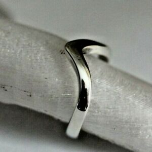 Individually made profiled Wishbone or Wave ring solid Sterling silver, size J