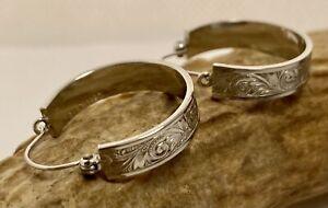 Vintage Sterling Silver Hand Engraved Hoop Earrings Signed Wells