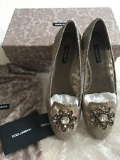 DOLCE&GABBANA VALLY SLIPPER LACE BALLERINAS BEIGE - SIZE 39 /UK 6 - NEW WITH BOX