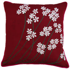 Square Floral Embroidered Cushion Cover Decorative Cotton Red Pillow Case Throw