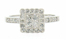Solid 14k White Gold 0.50ctw Round Diamond Petite Square Cluster Cocktail Ring