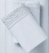 ~ 2 ~Simply Shabby Chic Standard PILLOWCASES Blue Crochet Lace Linen Cotton NEW