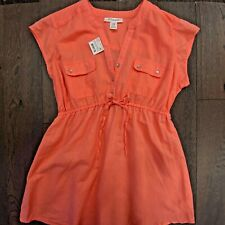Motherhood Maternity Coral Capped Sleeve Pocket Top Size M