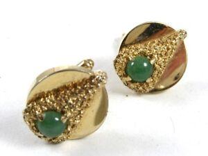 1960's-70's Goldtone & Green Like A Christmas Tree Cufflinks Not Marked 111414