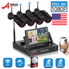 """Anran Home Security Camera System Wireless 4Ch 1Tb Hdd 7""""Monitor 1080P Cctv Hdmi"""