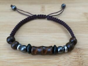 Men's Fashion Brown Braided Adjustable Hematite Shamballa Bracelet Wood Design