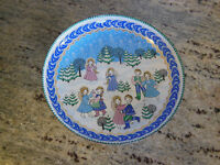 Steinbock Enamel Christmas Pin Dish Metal Dancing Angels Winter Vintage 1989