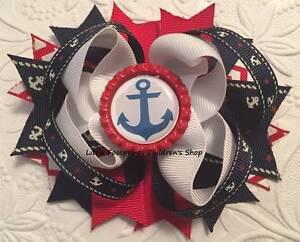 "Red White Navy Nautical Anchor Bottle Cap Hair Bow 4 1/2"""