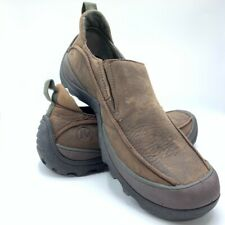 Merrell Mens Kaolin Loafers Shoes Brown Black Leather Cushioned Slip Ons 10 44