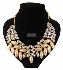 Large Gold Pearl Crystal Decorative Elegant Statement Fashion Jewellery Necklace