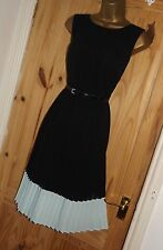 Black vintage style retro 50s 60s 70s repro Mad men party tea belt dress size 10