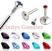 10 Monroe Labret rings Internally Threaded Bars Tragus Lip 16g 10mm 2mm gems cz*