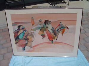 Veloy Vigil Original Watercolor, Large Native American Dance Painting Southwest