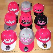 Pink Snapback Caps, Flat peak Fitted Baseball Bling Hats, Retro, Adults & Kids