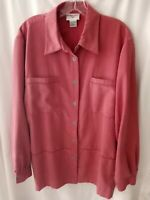 Women's Alfred Dunner size 18 top shirt jacket peach color velour  button up