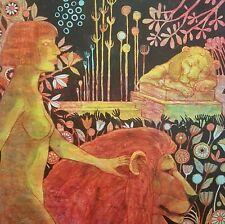 ! 80cm x 80cm acrylic paint on canvas Spaziergang mit goldenem Löwen MENSHYKOVA