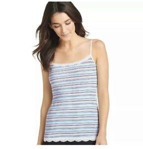 Jockey 1385 No Panty Line Promise Tactel Pixie Stripe Lace Camisole XL