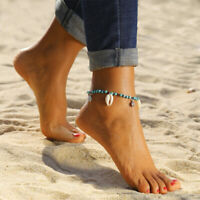 Women Shell Turquoise Bead Ankle Bracelet Anklet Chain Foot Beach Sandal Jewelry