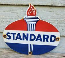 VINTAGE STANDARD GASOLINE PORCELAIN TORCH GAS SERVICE STATION PUMP PLATE SIGN