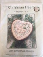Christmas Heart Musical Tin counted cross stitch Kit, Lorri Birmingham # 371K