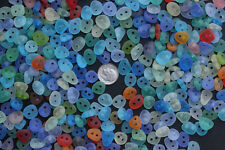 double drilled 2 big holes sea beach glass button 10 pcs mix color jewelry use