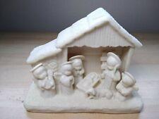 Vintage White Jade Porcelain Nativity Scene Christian Christmas