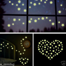 Bedroom Wall Stickers Decoration Fluorescent Glow In The Dark Stars PVC Decal CA